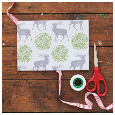 Thornback and peel mistletoe and stag wrapping paper