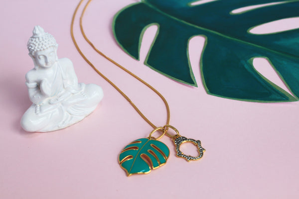 Palm & Buddha talisman necklace