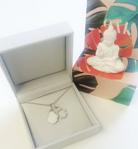 Silver Buddha necklace in a designer OAK jewellery box