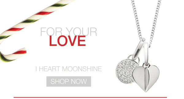 Silver Heart Charm with a Pave Gemstone Moon Shine Pendant