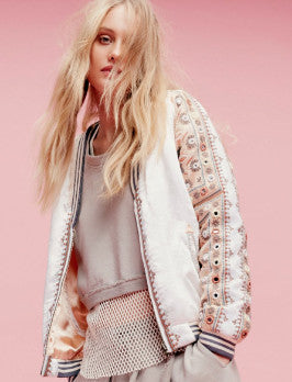 embellished pink baseball jacket from free people