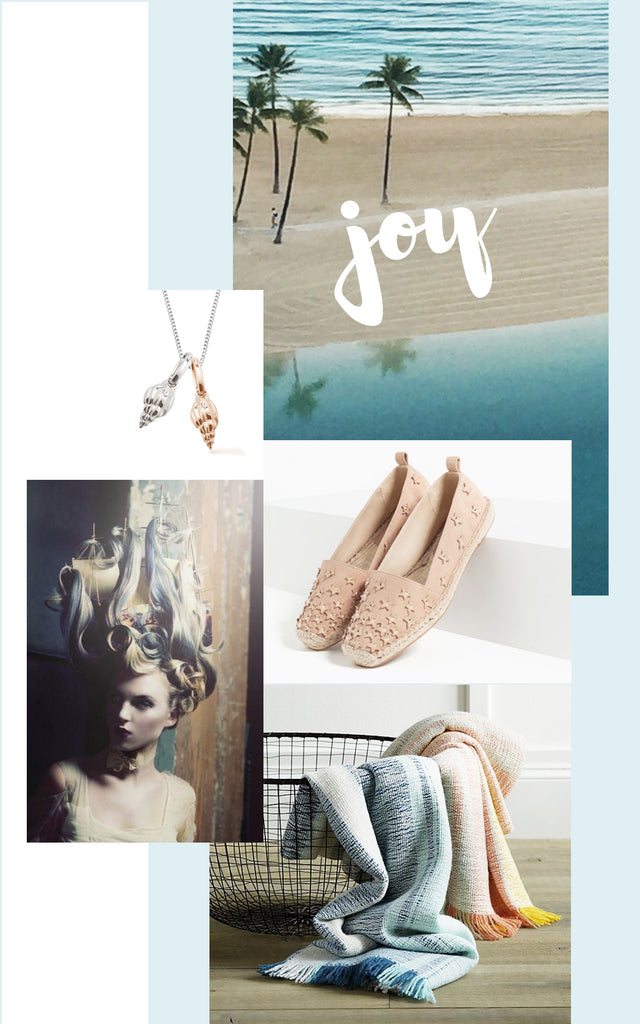 jewellery inspired by a joyous moodboard with ocean blues and nudes