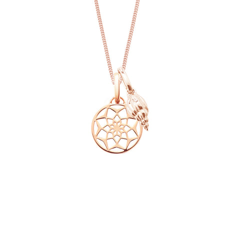 Dreamcatcher & seashell silver necklace with 18ct rose gold vermeil
