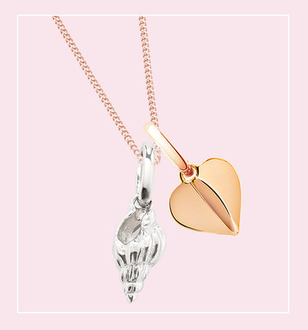 love tokens necklace with heart and seashell charms