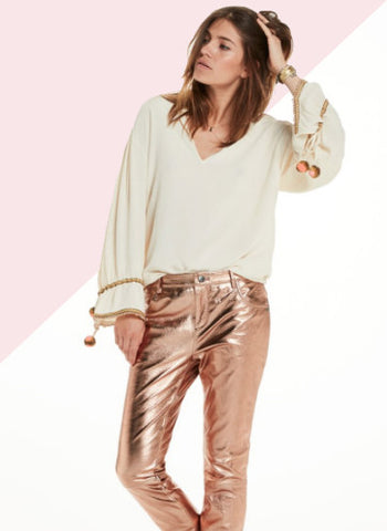 metallic rose leather trousers by scotch and soda