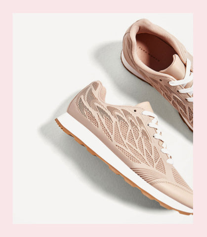 Nude textured trainers by zara