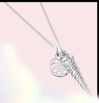 silver necklace made with unicorn and dreamcatcher charms by oak jewellery