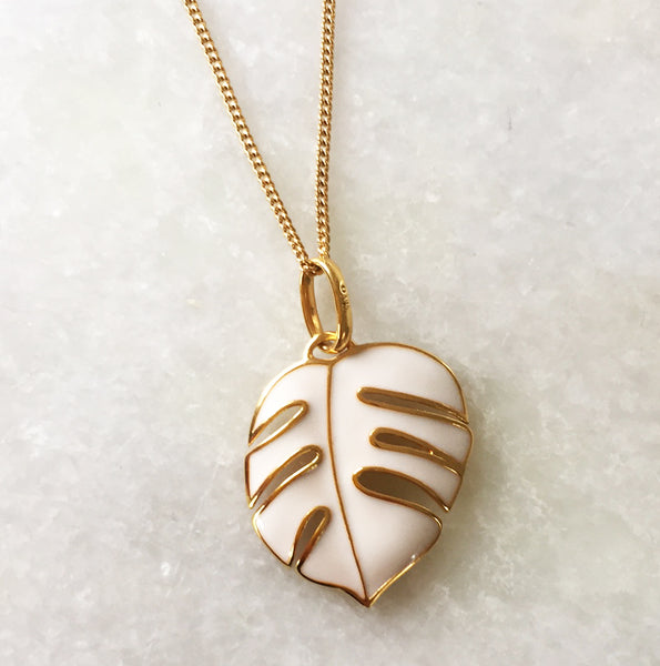 beach style monsoon palm pendant in yellow gold & white enamel
