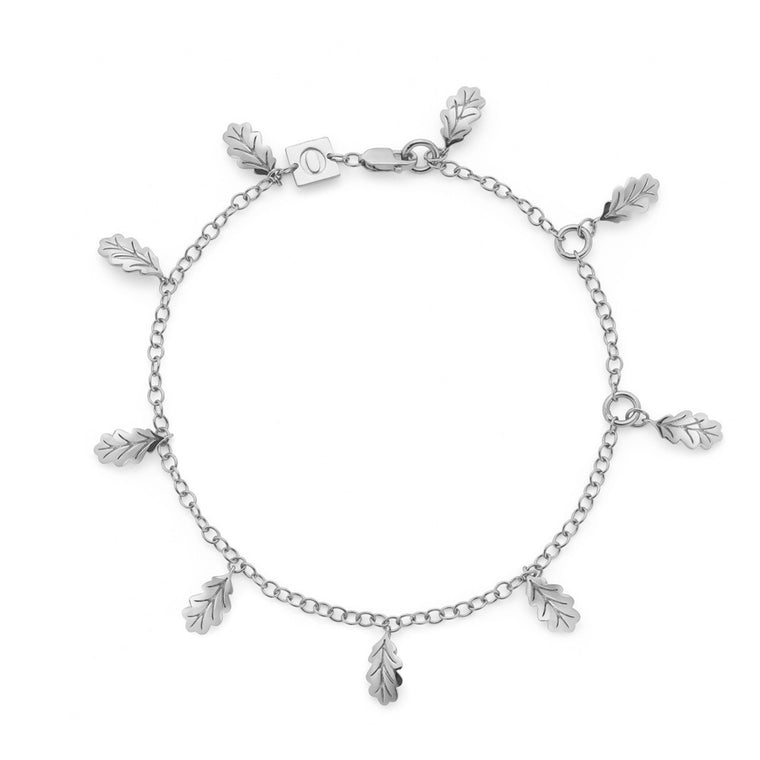 Swept Away Leaf Bracelet, Silver