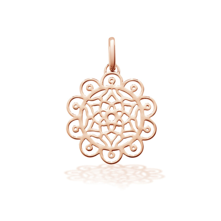 Dreamcatcher necklace charm in Silver with 18ct Rose gold vermeil by OAK Jewellery