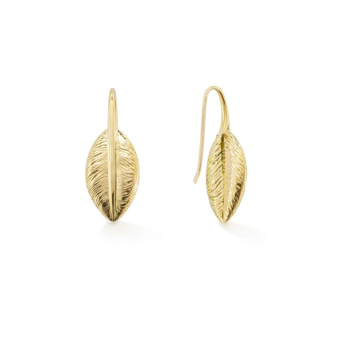 Feather Earrings, Yellow Gold