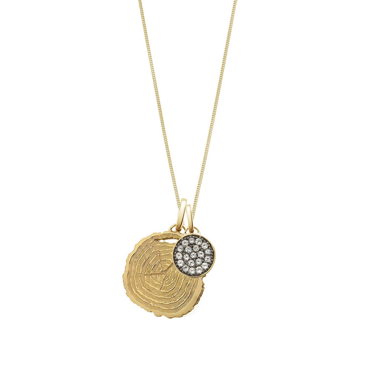 Tree of Life + Moon Long Necklace, Gold