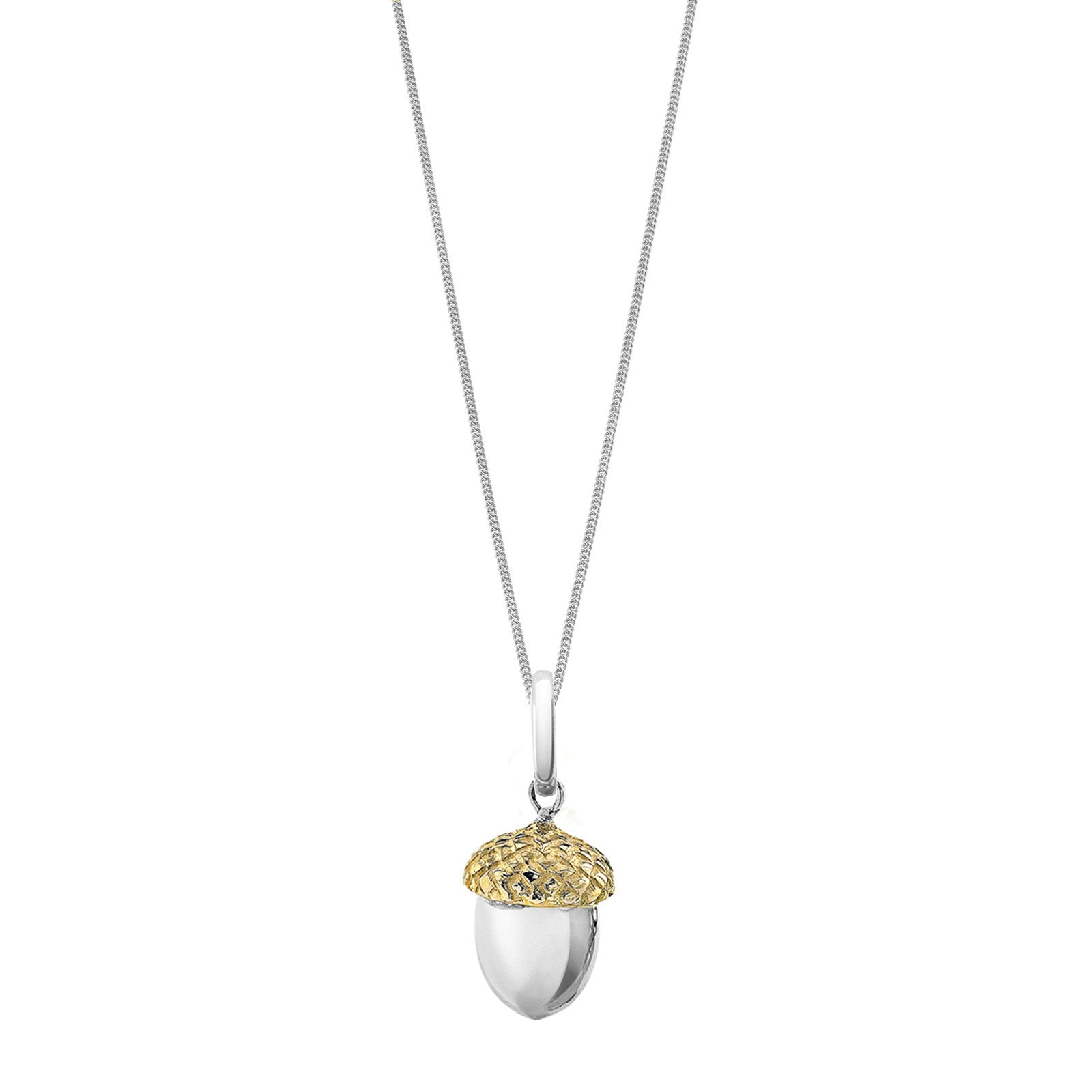 Silver acorn pendant symbolic of life and magnificence oak sterling silver and gold acorn pendant on a long silver chain by oak jewellery mozeypictures Image collections