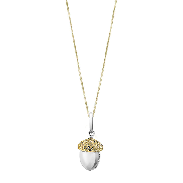 Iconic Silver & Gold Acorn Necklace By OAK Jewellery
