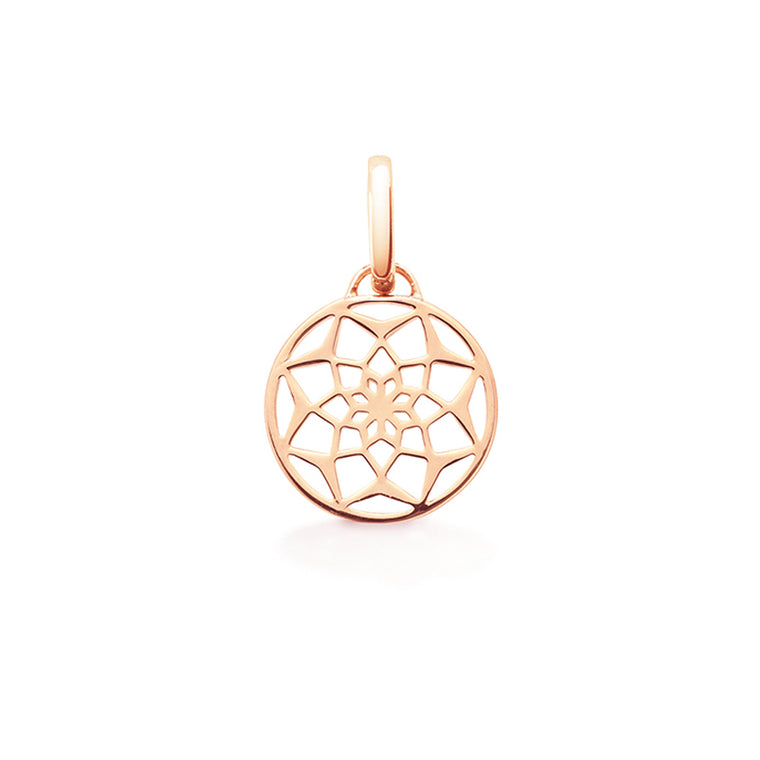 Sterling silver dreamcatcher pendant charm in Rose Gold Vermeil by OAK Jewellery