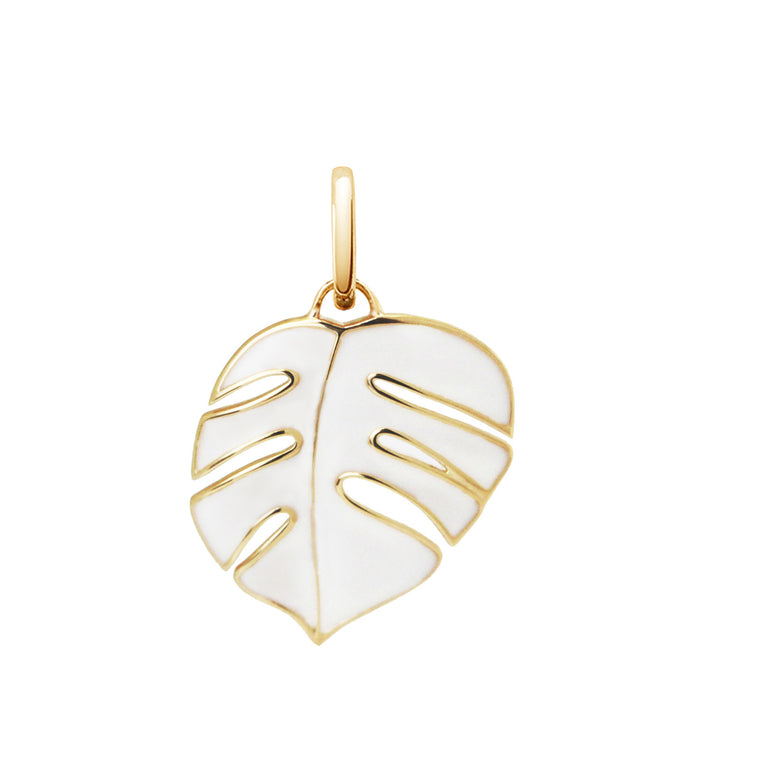 White Monsoon Palm Pendant Charm by OAK Jewellery