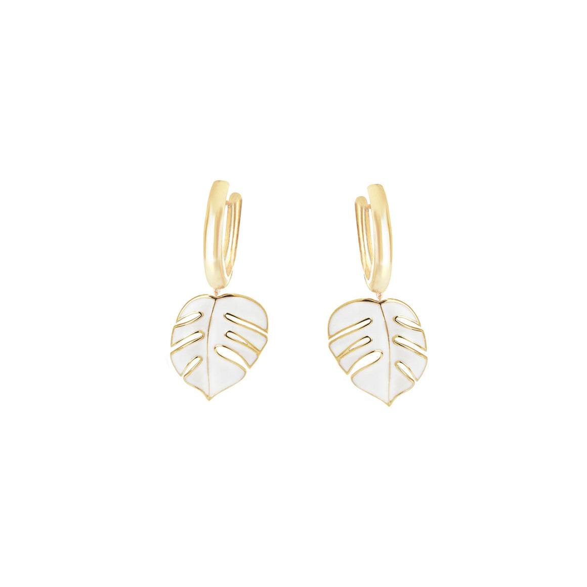 Palm Hula Earrings, White, Sale