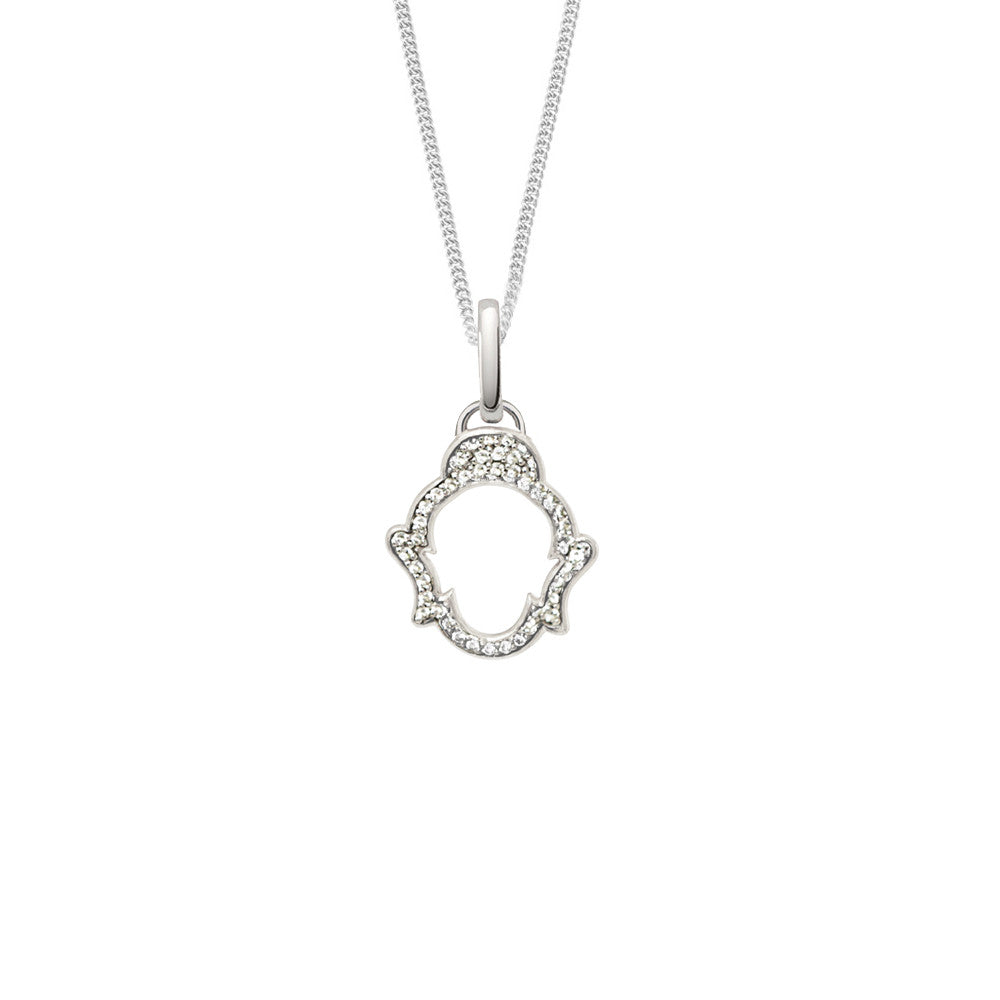 White Topaz Buddha Necklace, Silver