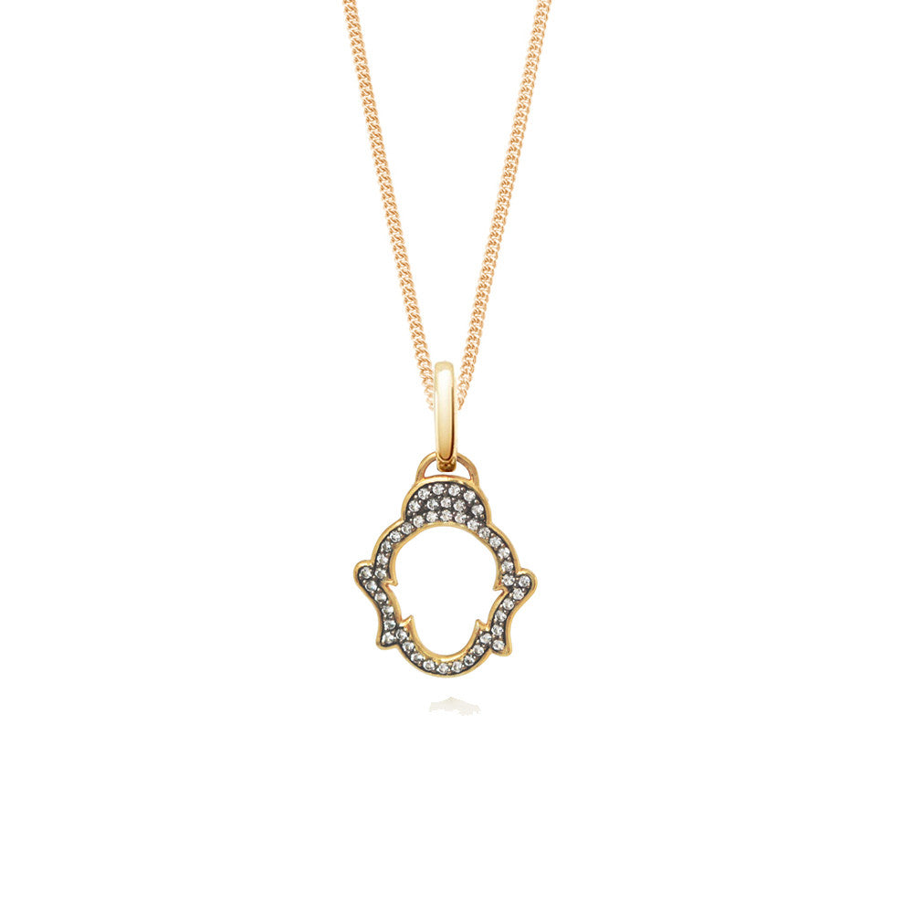 White Topaz Buddha Necklace, Yellow Gold