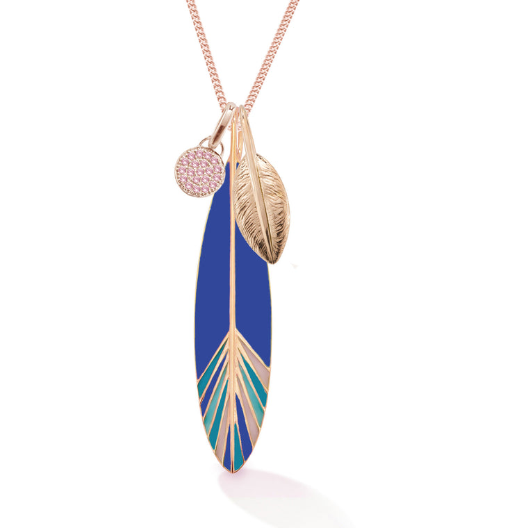 Moon + Two Feathers Short Necklace, Rose