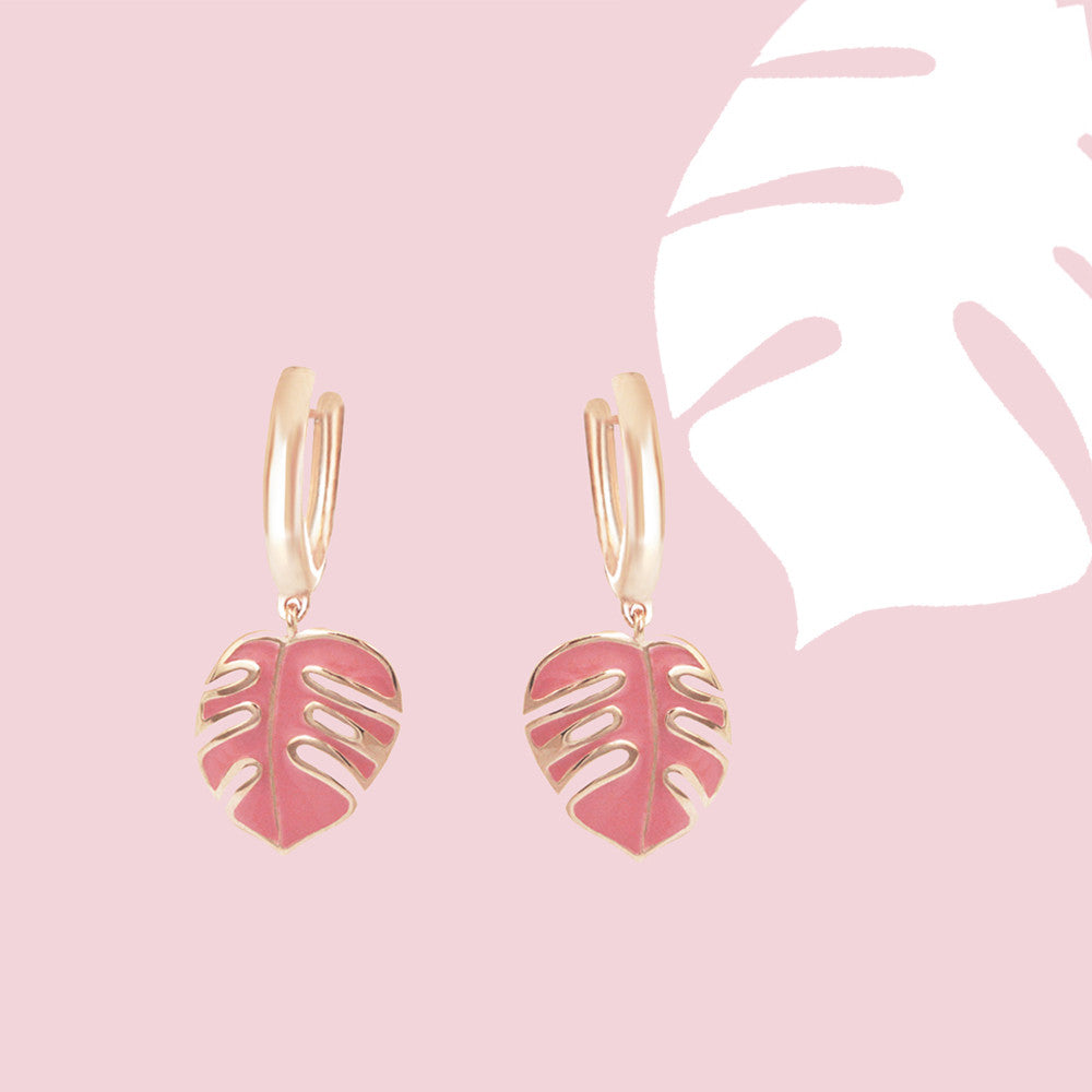 Palm Hula Earrings, Rose, Sale