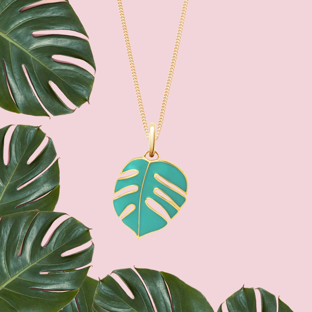Monsoon Palm Green Necklace, Yellow Gold