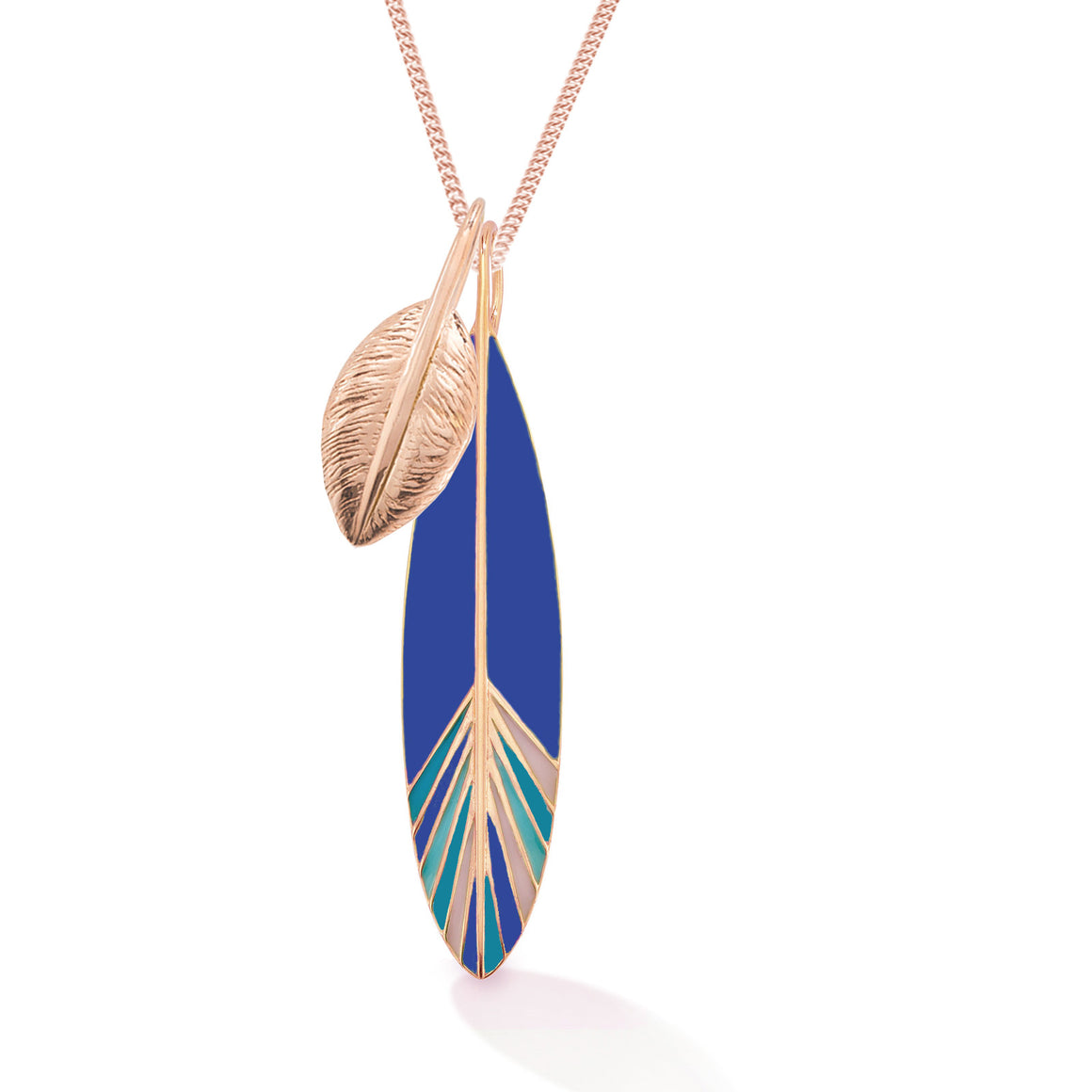 Two Feathers Short Necklace, Rose