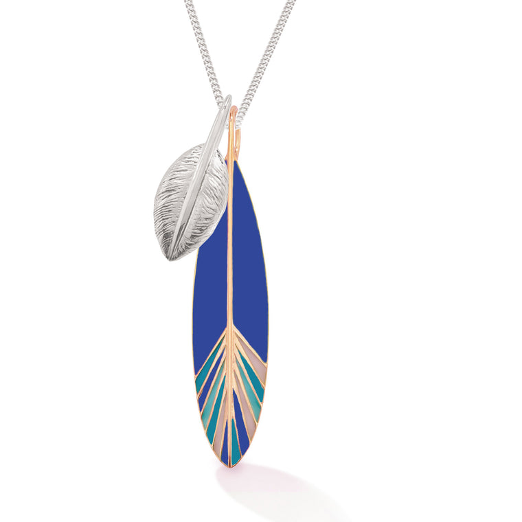 Two Feathers Long Necklace, Silver + Rose