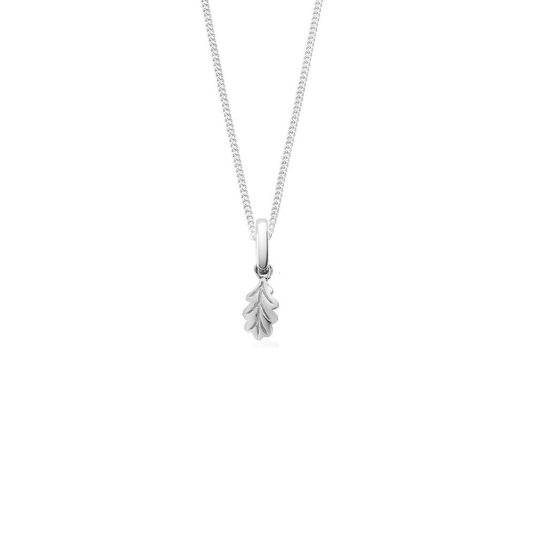 Tiny Giant Leaf Necklace, Silver