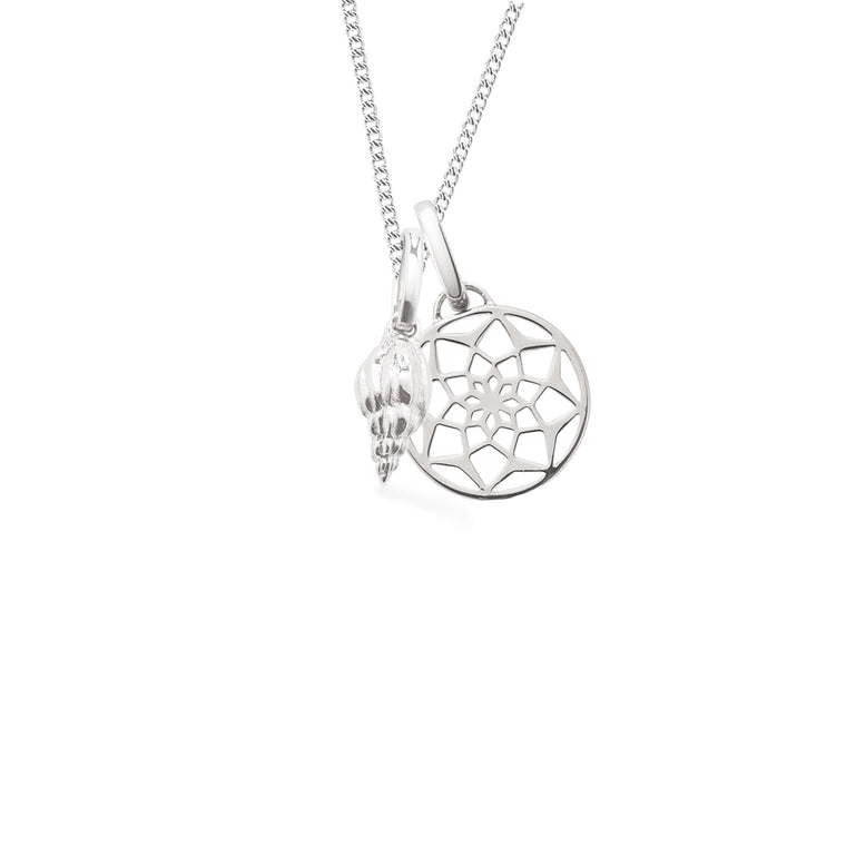 Seashell + Dreamcatcher Long Necklace, Silver