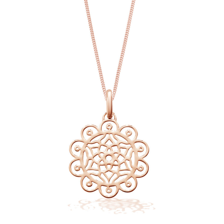 floral dreamcatcher rose gold necklace by OAK Jewellery