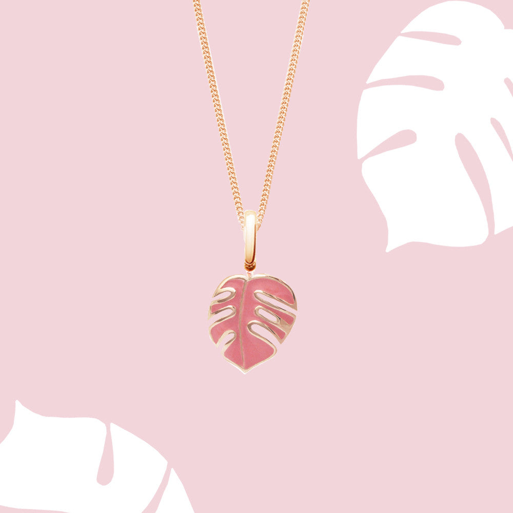 Mini Monsoon Palm Pink Necklace, Rose Gold