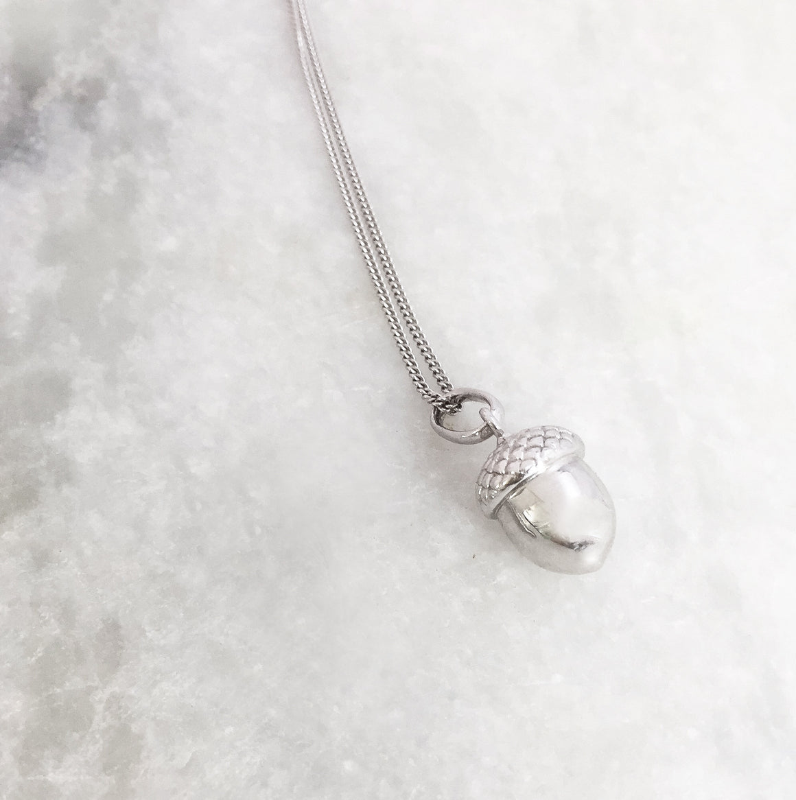 Acorn Short Necklace, Silver