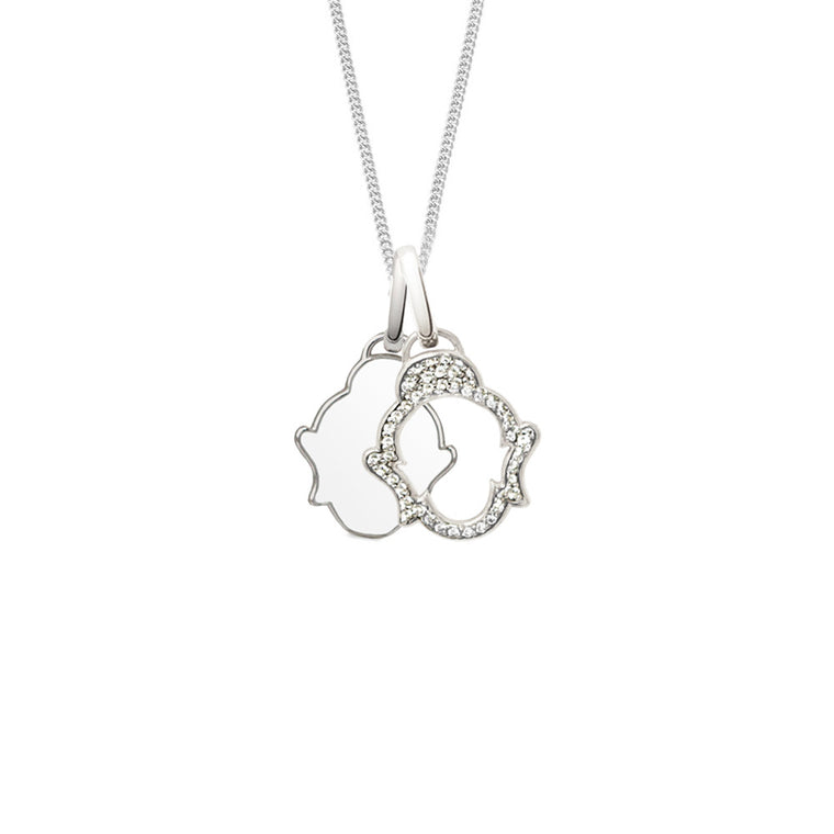 Two Buddhas Short Necklace, Silver, Sale