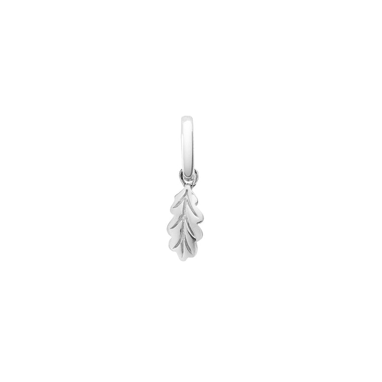 Tiny Giant Leaf Pendant Charm, Silver