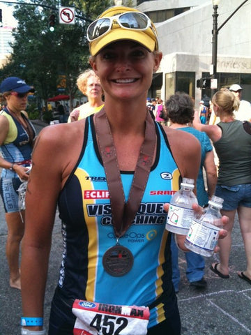 Kristin at finish line of a race