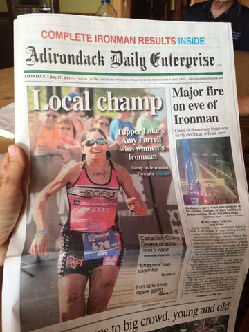 Amy on cover of a newspaper