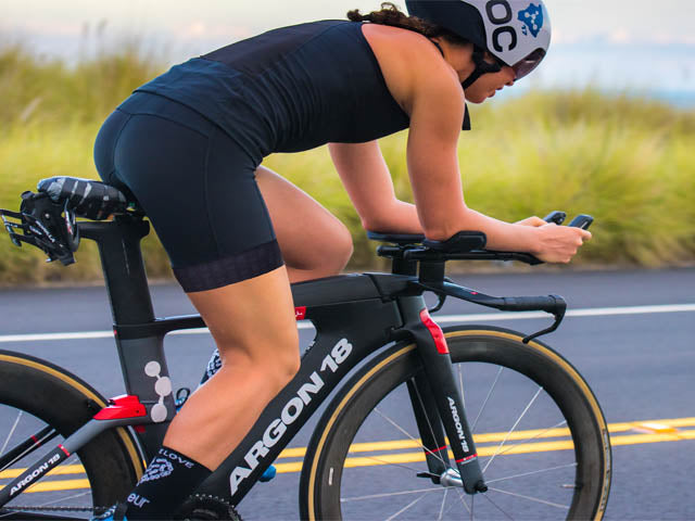 Woman on a triathlon bike