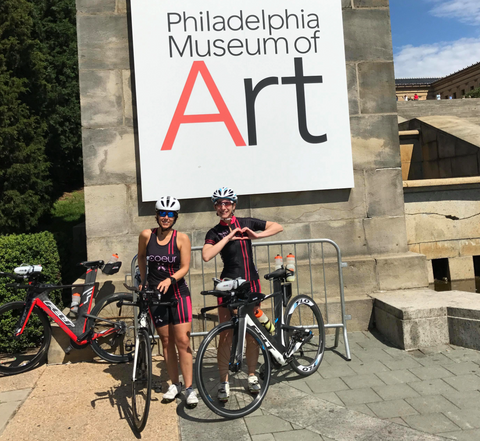 Athletes in front of Philadelphia Museum of Art