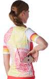 Back of women's cycling jersey in a design called Citrus from Coeur Sports