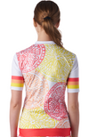 Back of a women's cycling jersey in a design called Citrus from Coeur Sports
