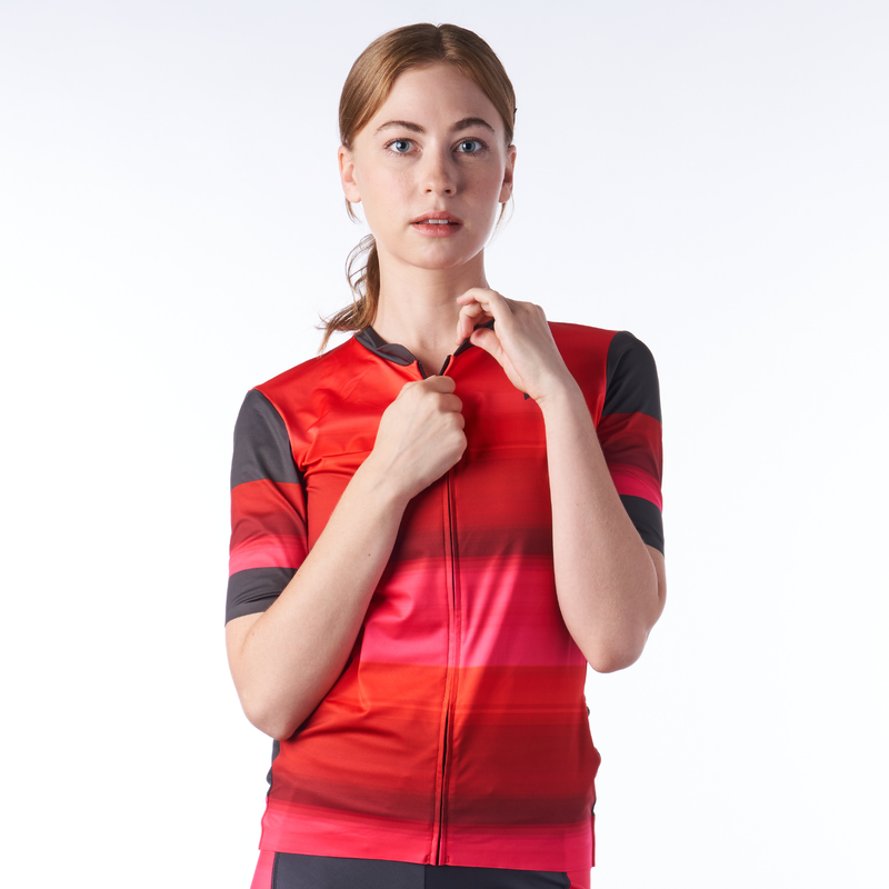 Front of women's cycling jersey in a design called Infared