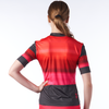 Back of a women's cycling jersey in a design called Infared