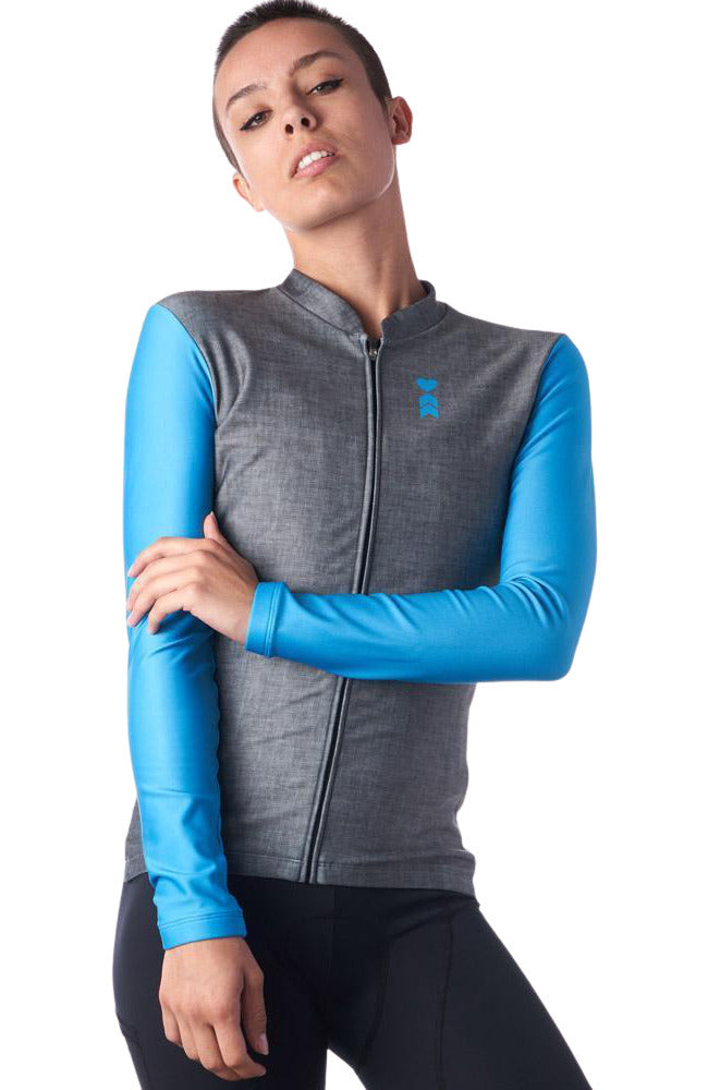 Women's Long Sleeve Thermal Cycling Jersey Opal Design