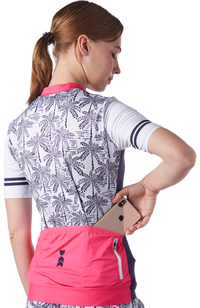 Back view of women's cycling jersey with palm print design