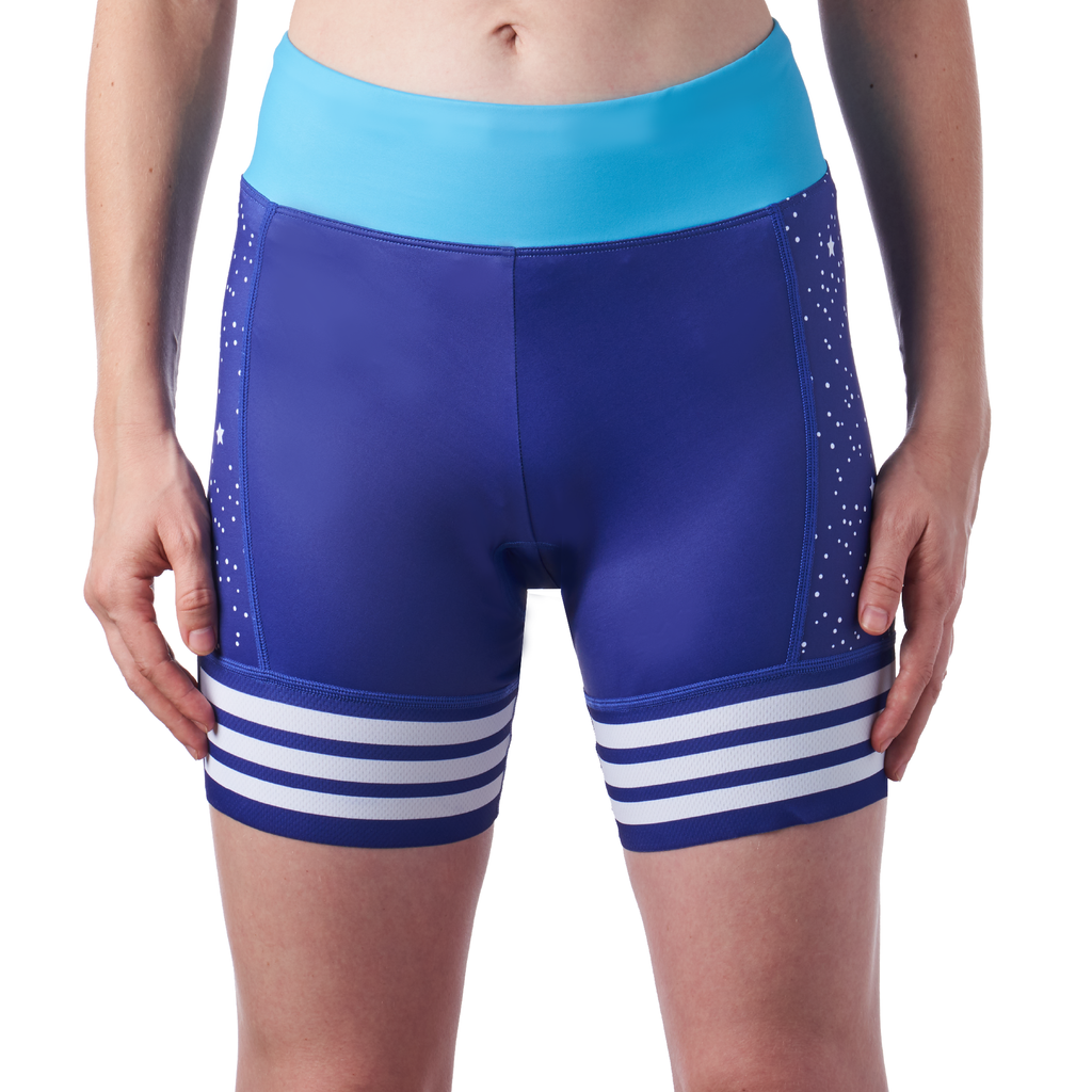 women's cycling shorts in a design called 5:00 am. front view