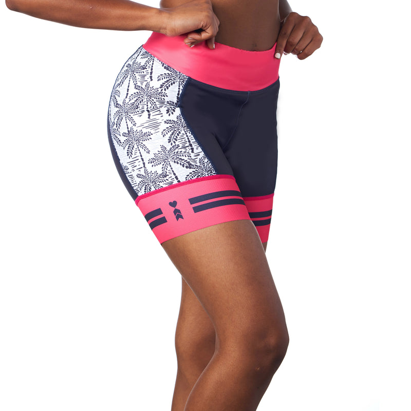 Women's Cycling Shorts in Palm Print Design front view
