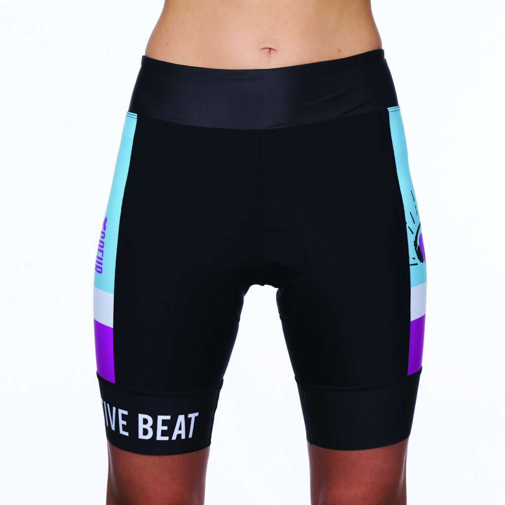 Coeur Sports Cycling Short XS / Blue/Purple PRESALE! Women's Cycling Short in Collective Beat 19 - Late July 2019 Shipment