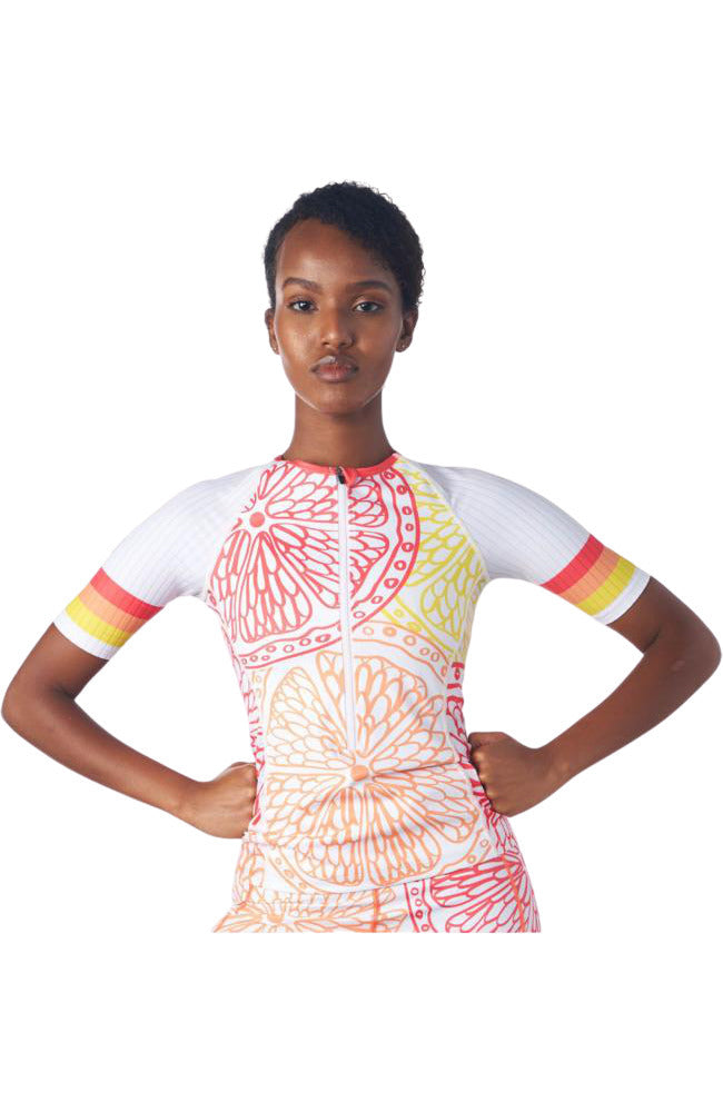 Sleeved Triathlon Jersey in a design called Citrus