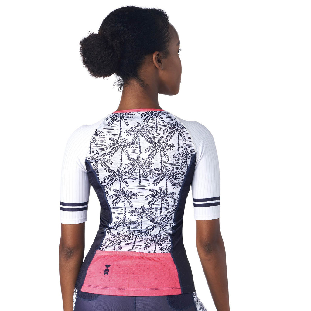 Back of Women's Triathlon Top in Palm Print Design